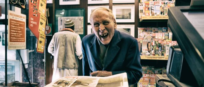 An old man laughing. It might even be Ebenezer Spooky?!