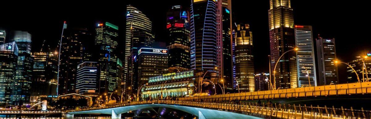 A major city lit up at night