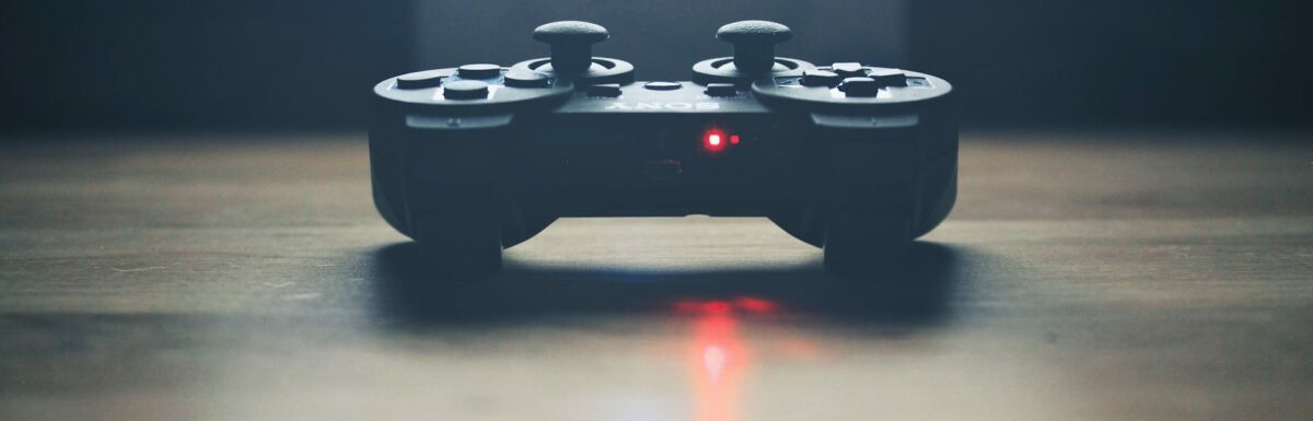 A video game controller on a table