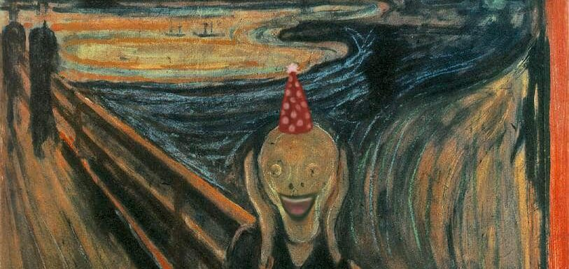 Munch's Scream digitally altered to be smiling