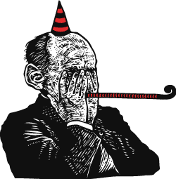 Cartoon of man in party hat and noise-maker covering his face.