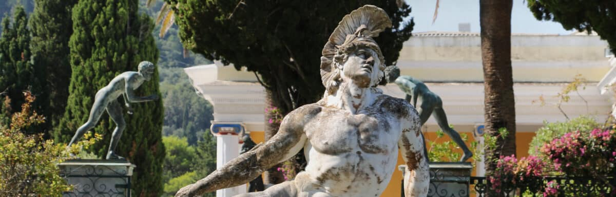 Statue of Dying Achillesin the gardens of Achilleion palace. Located on greek Corfu island, Greece.