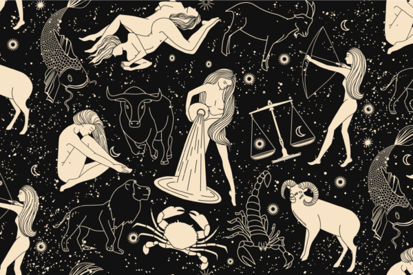 Illustrations of the Zodiac symbols, with Aquarius at the center