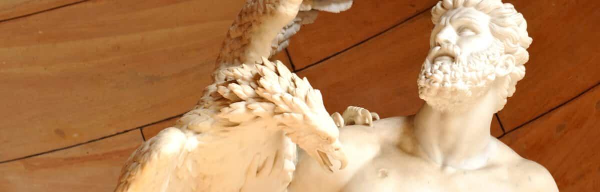 Sculpture of Zeus' eagle attacking Prometheus