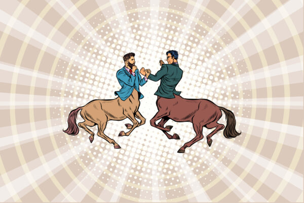 Two centaurs dressed as businessmen, fighting