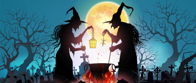 Happy Halloween background with Old witch with magical potion and the dead trees under the moonlight.- Vector illustration