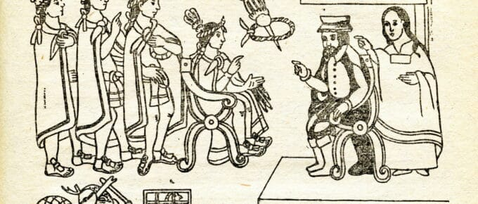 Illustration of when Cortes and La Malinche meet Moctezuma in Tenochtitlan, November 8, 1519