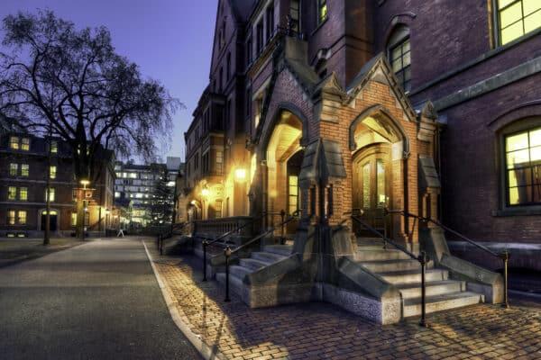 Outside in Harvard Yard at Sunset in Cambridge Massachusetts