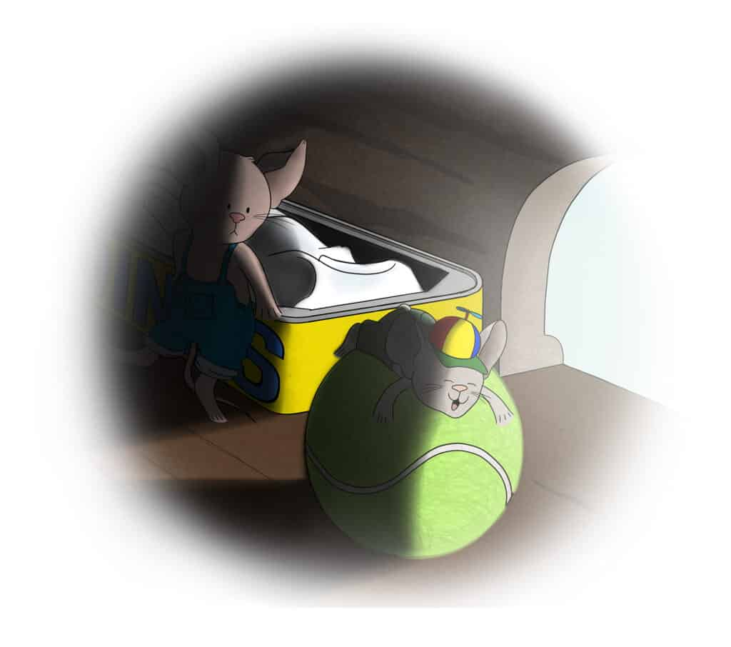 Cartoon mouse looking anxiously at another mouse sleeping on a tennis ball