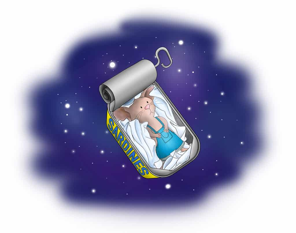 Cartoon mouse unable to sleep in a sardine can drifting through space