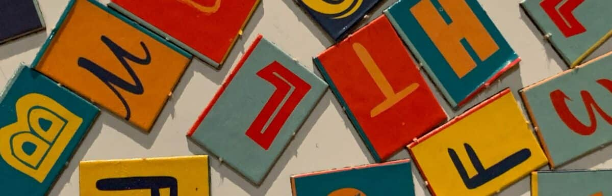 Colourful letters scattered