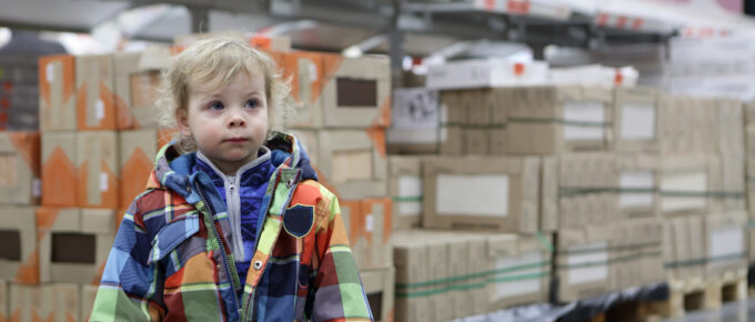 Portrait of a child at warehouse space