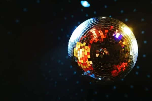 Shimmering disco ball on a black background