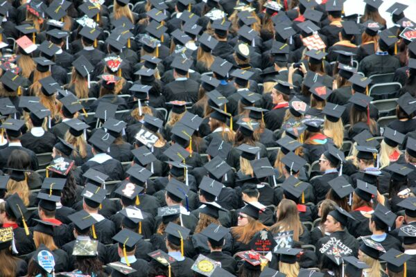Aerial shot of graduating students in their silly little caps