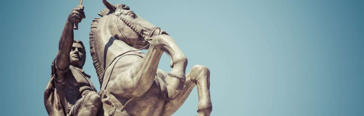 """Warrior on a Horse statue """"Alexander the Great"""" on Skopje Square"""