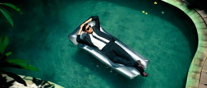 A rich jackass in a swimming pool