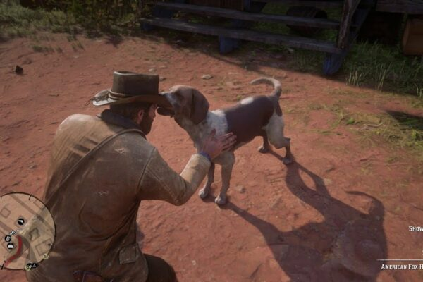 Screenshot of RDR2 petting a quote-unquote heckin good doggo