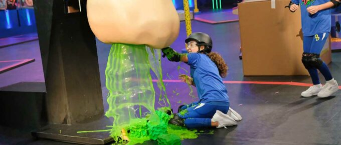 Nickelodeon game show Double Dare: a child plays with simulated snot. Classy stuff.