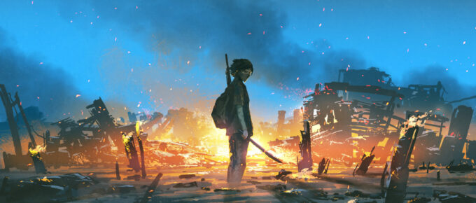young survivor in the apocalyptic world, digital art style, illustration painting