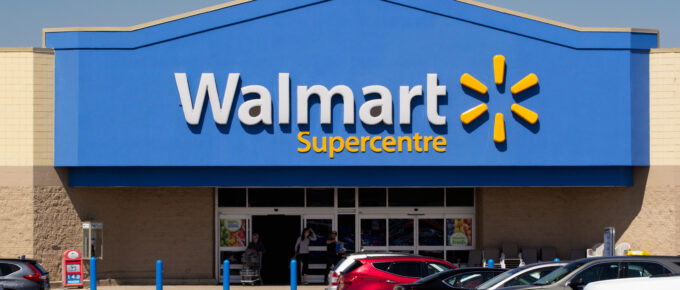 Truro, Canada - June 04, 2019: Walmart storefront. Walmart is an American corporation with chains of department and warehouse stores operating worldwide.