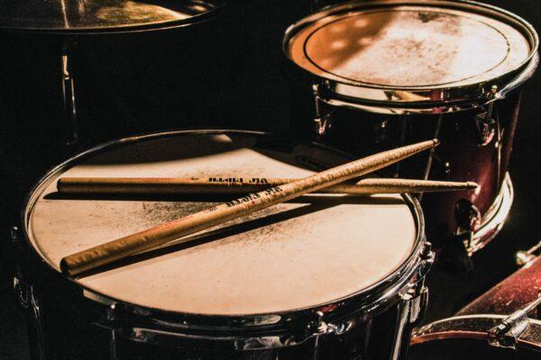Close-up of drum kit